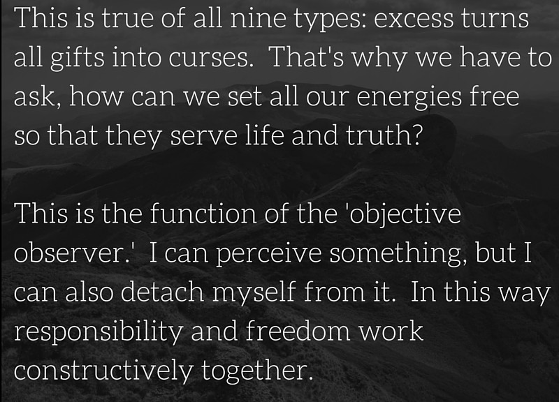 """""""This is true of all nine types: excess turns all gifts into curses.  That's why we have to ask, how can we set all our energies free so that they serve life and truth?   This is the function of the 'objective observer.'  I can perceive something, but I can also detach myself from it.  In this way responsibility and freedom work constructively together."""" ~ Richard Rohr"""